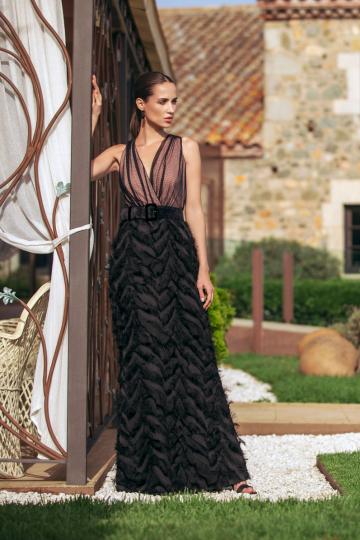 Vestido Delia largo combinado realizado en tejido de fantasía.