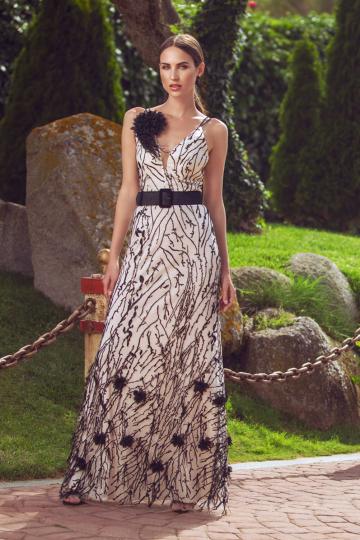 Vestido Francina largo de tul bordado con flores